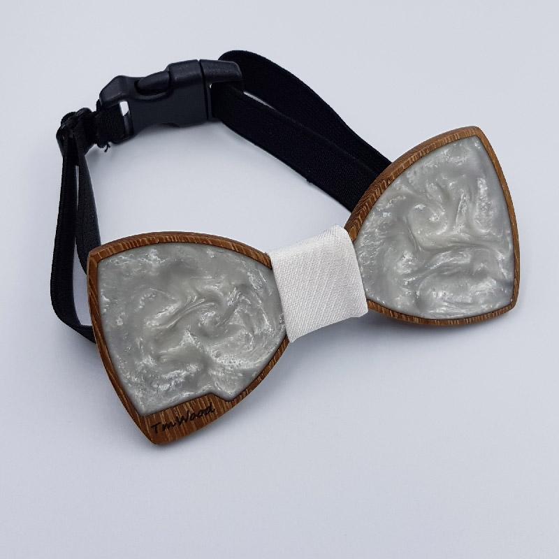 Ξύλινο παπιγιόν από ρητίνη υγρό γυαλί άσπρο με ξύλινο πλαίσιο