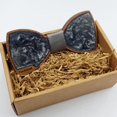 Παπιγιόν από υγρό γυαλί γκρι με ξύλινο πλαίσιο