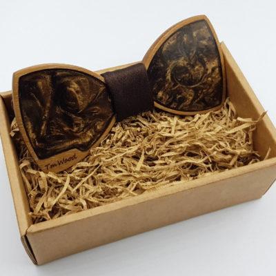 Παπιγιόν από υγρό γυαλί καφέ με ξύλινο πλαίσιο