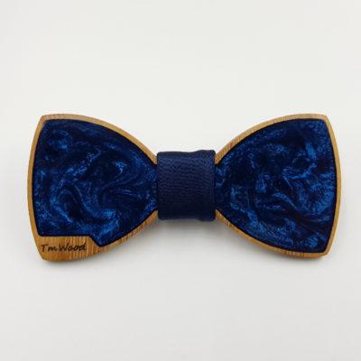 Παπιγιόν ρητίνης σκούρο μπλε με ξύλινο πλαίσιο
