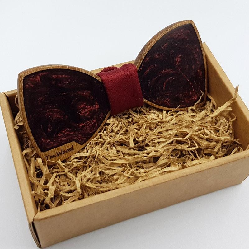 Παπιγιόν από υγρό γυαλί μπορντό με ξύλινο πλαίσιο