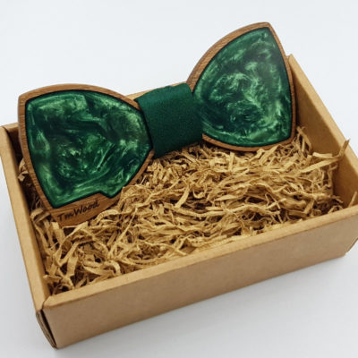 Παπιγιόν από υγρό γυαλί πράσινο με ξύλινο πλαίσιο