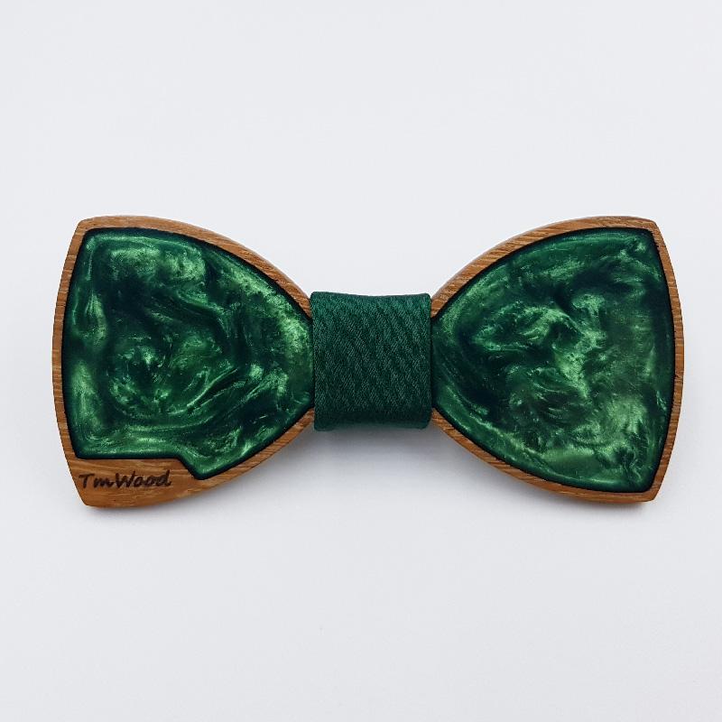 Παπιγιόν ρητίνης πράσινο με ξύλινο πλαίσιο