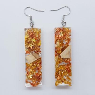 σκουλαρίκια ρητίνης ίσια με φύλλα χρυσού ,χαλκού και ξύλο ελιάς