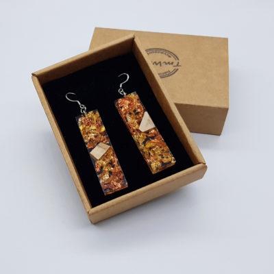 σκουλαρίκια από υγρό γυαλί ίσια με φύλλα χρυσού ,χαλκού και ξύλο ελιάς