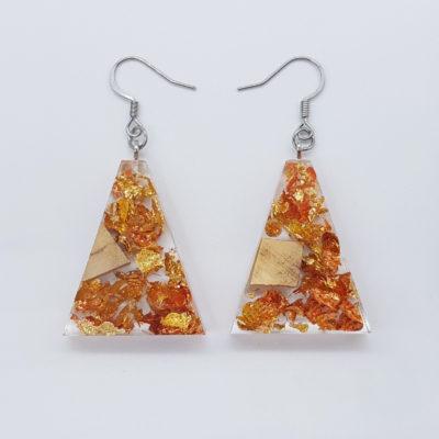 σκουλαρίκια ρητίνης ανάποδο τρίγωνο με φύλλα χρυσού ,χαλκού και ξύλο ελιάς