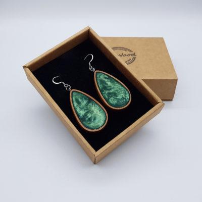 Σκουλαρίκια από υγρό γυαλί πράσινα σταγόνα με ξύλινο πλαίσιο