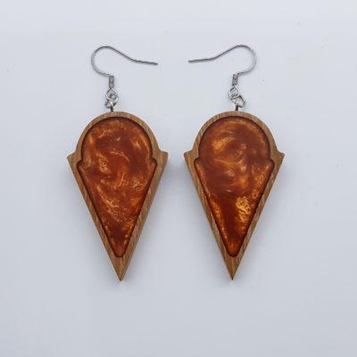 Σκουλαρίκια ρητίνης πορτοκαλί στρογγυλό με τρίγωνο με ξύλινο πλαίσιο