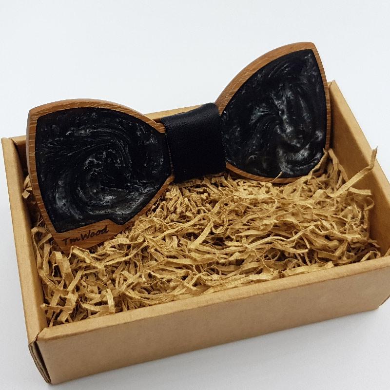 Παπιγιόν από υγρό γυαλί μαύρο με ξύλινο πλαίσιο