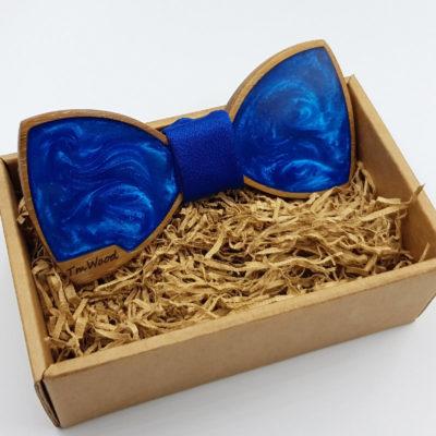 Παπιγιόν από υγρό γυαλί μπλε με ξύλινο πλαίσιο