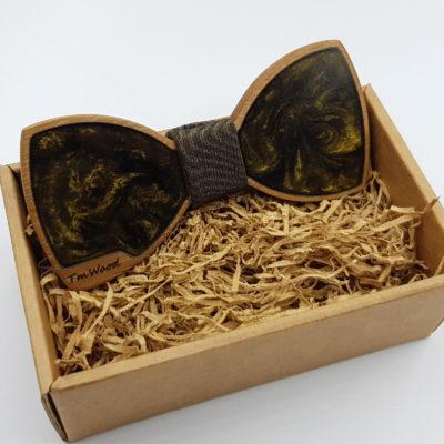 Παπιγιόν από υγρό γυαλί σκούρο χρυσό με ξύλινο πλαίσιο