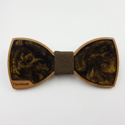 Παπιγιόν ρητίνης σκούρο χρυσό με ξύλινο πλαίσιο