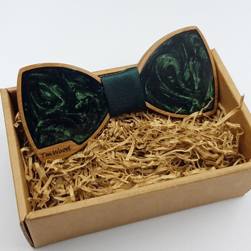 Παπιγιόν από υγρό γυαλί σκούρο πράσινο με ξύλινο πλαίσιο