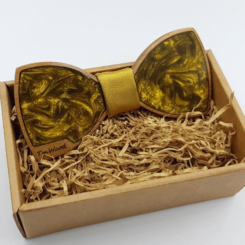 Παπιγιόν από υγρό γυαλί χρυσό με ξύλινο πλαίσιο