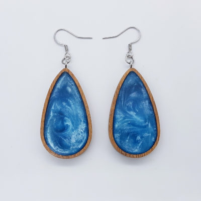 Σκουλαρίκια ρητίνης γαλάζια σταγόνα με ξύλινο πλαίσιο