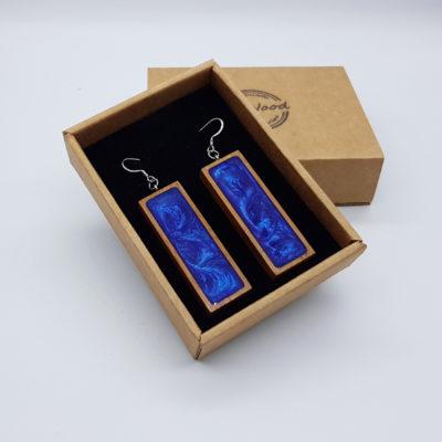 Σκουλαρίκια από υγρό γυαλί λιλά ίσιο με ξύλινο πλαίσιο