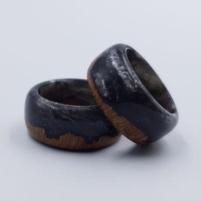 δαχτυλίδι από υγρό γυαλί μαύρο