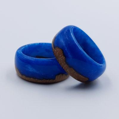 δαχτυλίδι από υγρό γυαλί μπλε